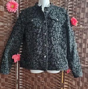 Charter Club jacket  Floral the color black